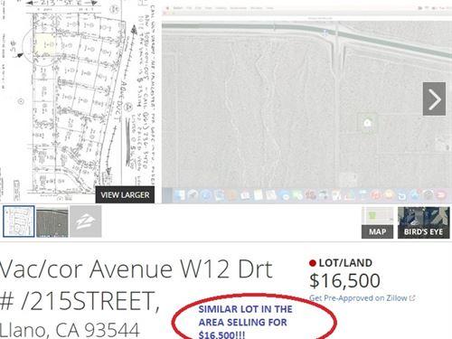1.25 Acres In Lancaster, CA : Lancaster : Los Angeles County : California