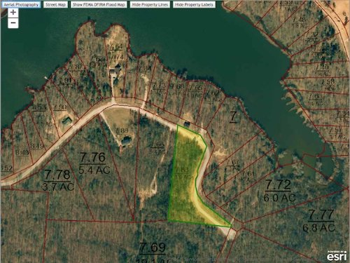 Lot 264 - 3.9 Acre Water View Lot : Cedar Grove : Carroll County : Tennessee