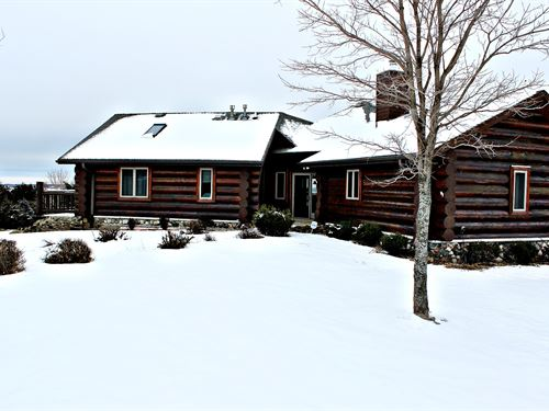 Custom Log Home On 5+ Acres : Random Lake : Sheboygan County : Wisconsin