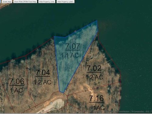Lot 86 Is A 1.1 Acre Waterfront Lot : Cedar Grove : Carroll County : Tennessee