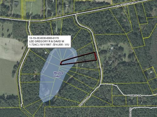 Lake Front Lot In North Florida : Monticello : Jefferson County : Florida