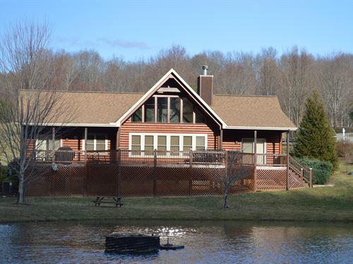 Log Sided Cabin Pond Blue Ridge : Sparta : Alleghany County : North Carolina