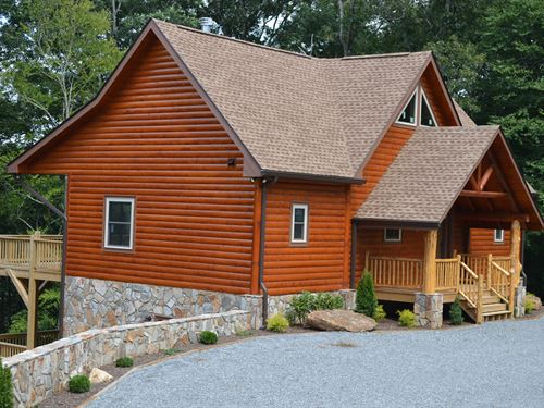New Log Home Located Little River : Sparta : Alleghany County : North Carolina