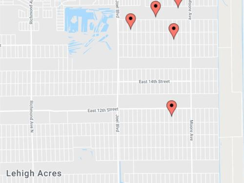 Wholesale 5 Lot Package, 33972 : Lehigh Acres : Lee County : Florida