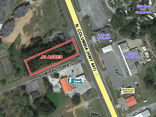 Reduced Commercial Lot Pad Ready : Milledgeville : Baldwin County : Georgia