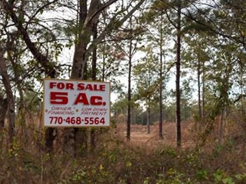 5 Acre Farms, $1000 Down : Milledgeville : Hancock County : Georgia