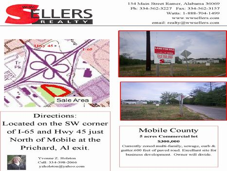 5 Ac at I-65 and Hwy 45 : Mobile : Mobile County : Alabama