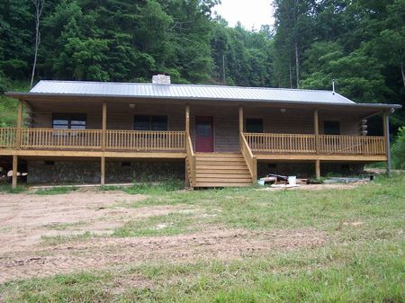 10 Ac New Log Home On The New River : Galax : Grayson County : Virginia