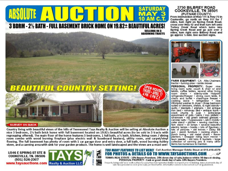 Absolute Auction-home & 19.8 Acres : Cookeville : Putnam County : Tennessee