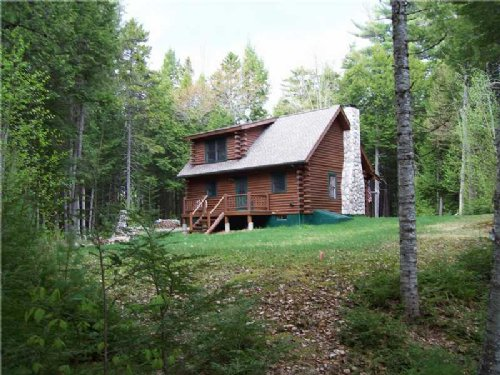 Log Cabin With Privacy On Jr Lake : Lakeville : Penobscot County : Maine