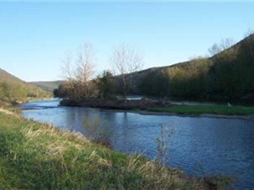 Riverfront, Fly Fishing, Catskills : Deposit : Delaware County : New York